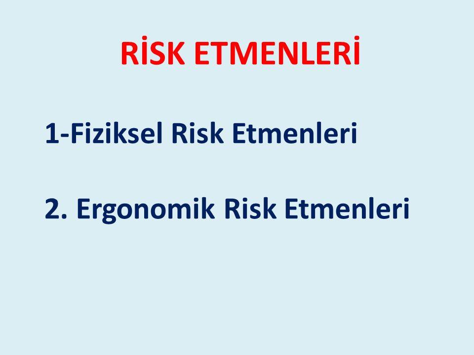 1-Fiziksel Risk Etmenleri 2. Ergonomik Risk Etmenleri