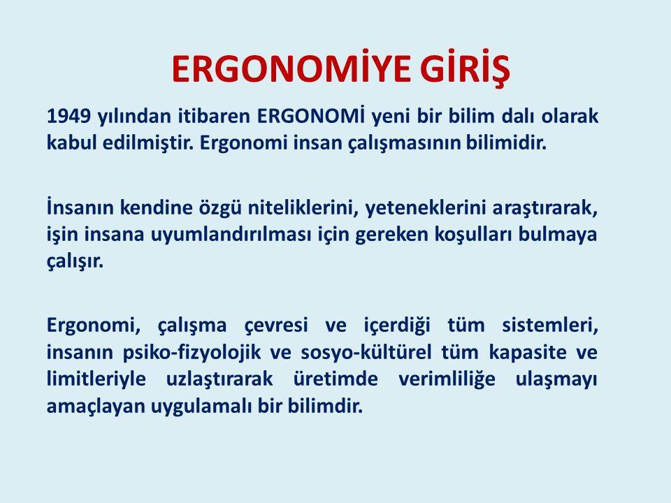 ERGONOMİYE GİRİŞ 1949 yılından itibaren ERGONOMİ yeni bir bilim dalı olarak kabul edilmiştir. Ergonomi insan çalışmasının bilimidir.