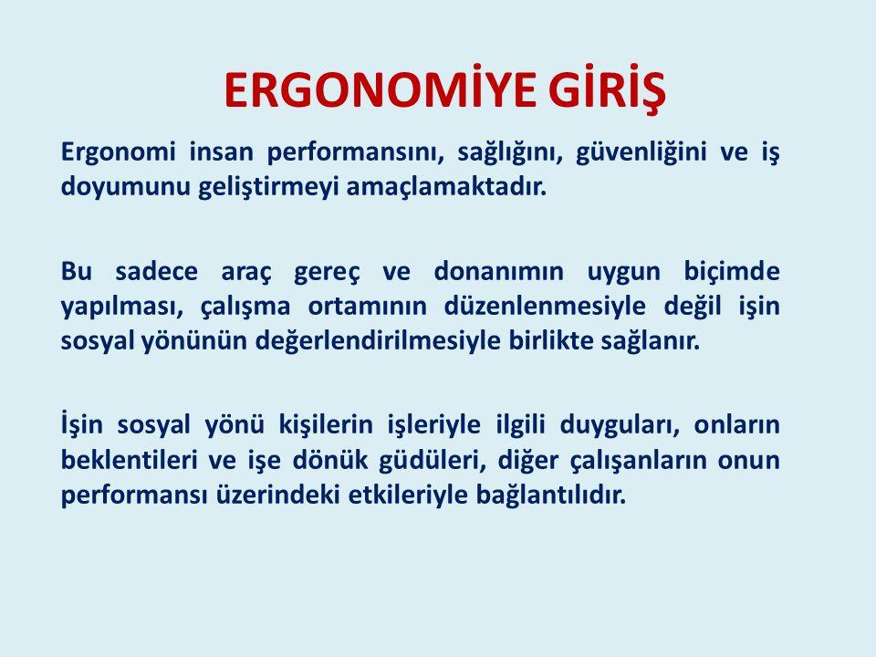 ERGONOMİYE GİRİŞ Ergonomi insan performansını, sağlığını, güvenliğini ve iş doyumunu geliştirmeyi amaçlamaktadır.