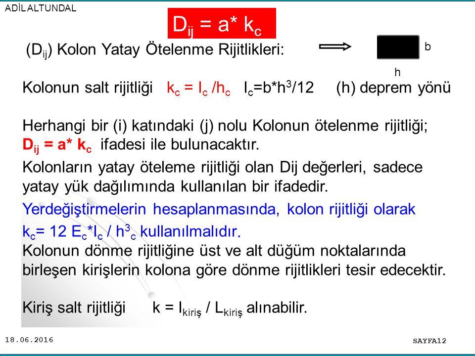 ADİL ALTUNDAL Dij = a* kc. h. b. (Dij) Kolon Yatay Ötelenme Rijitlikleri: Kolonun salt rijitliği kc = Ic /hc Ic=b*h3/12 (h) deprem yönü.
