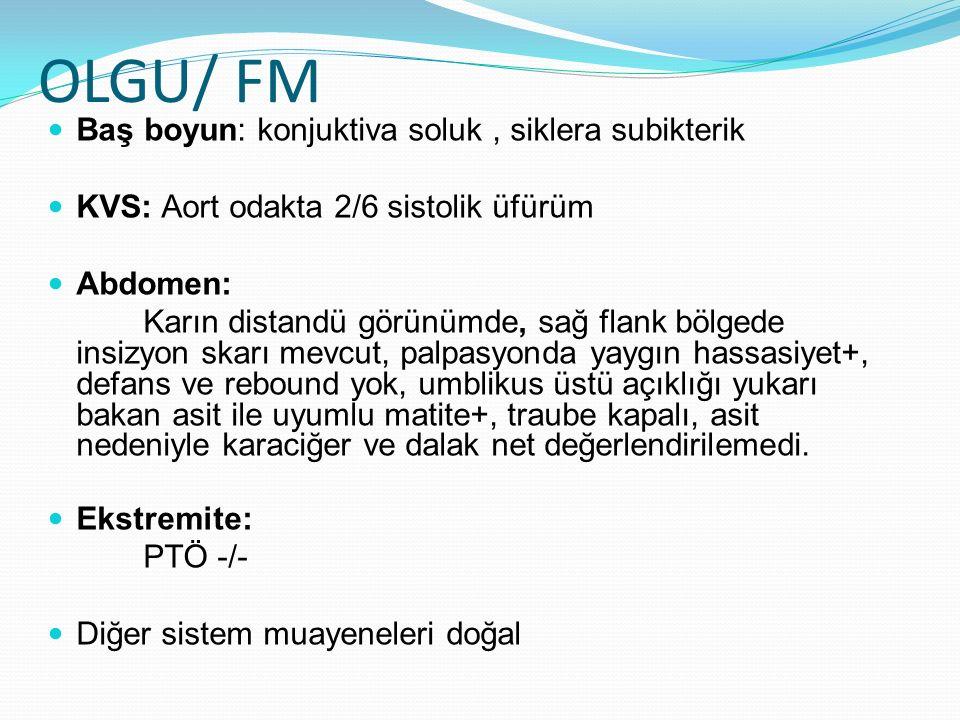 OLGU/ FM Baş boyun: konjuktiva soluk , siklera subikterik