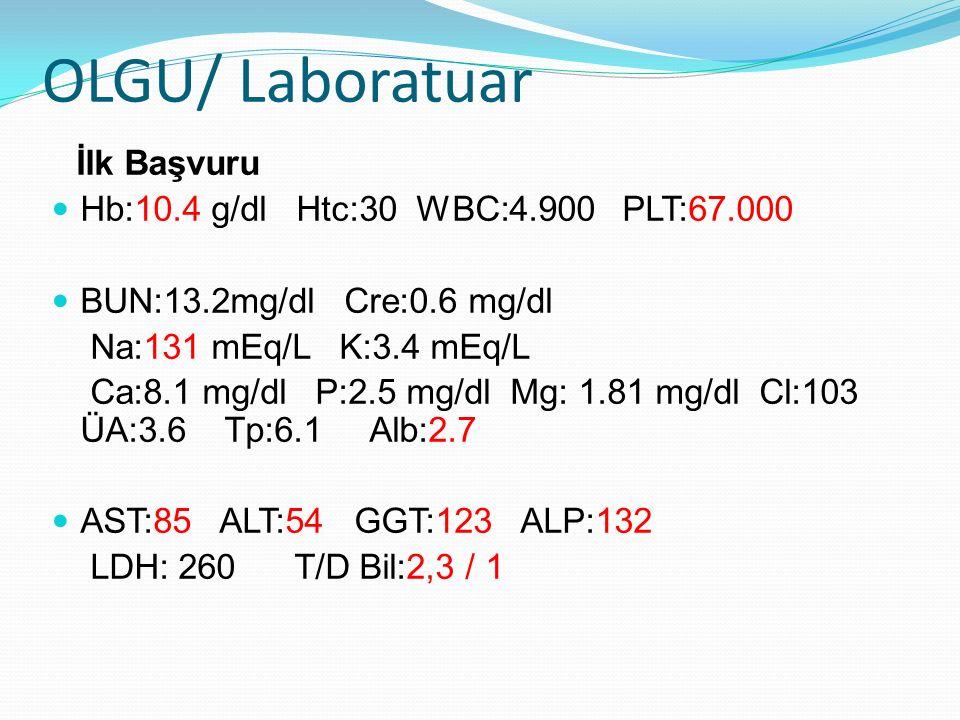 OLGU/ Laboratuar İlk Başvuru Hb:10.4 g/dl Htc:30 WBC:4.900 PLT:67.000