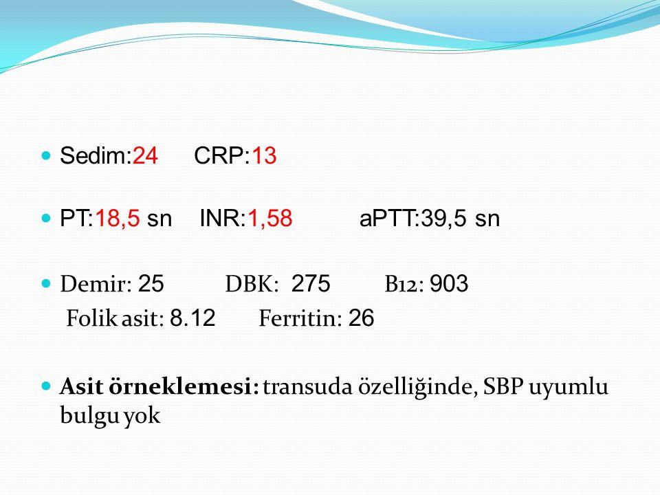 Sedim:24 CRP:13 PT:18,5 sn INR:1,58 aPTT:39,5 sn. Demir: 25 DBK: 275 B12: 903.