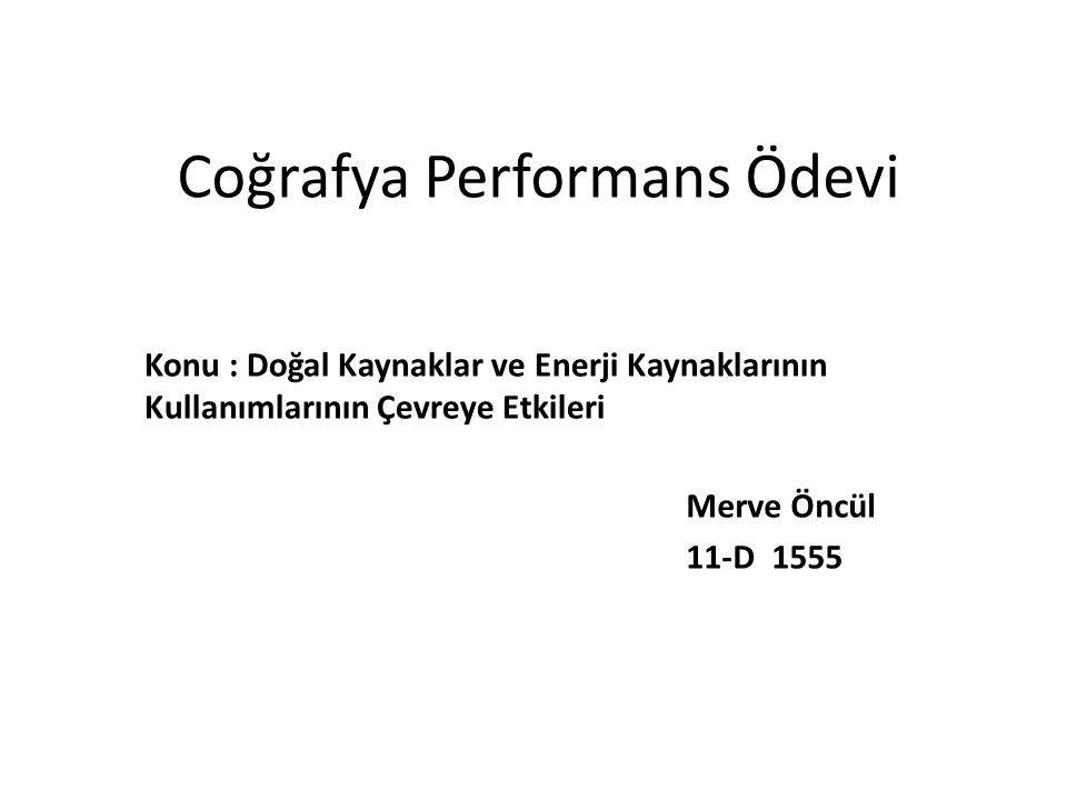Coğrafya Performans Ödevi