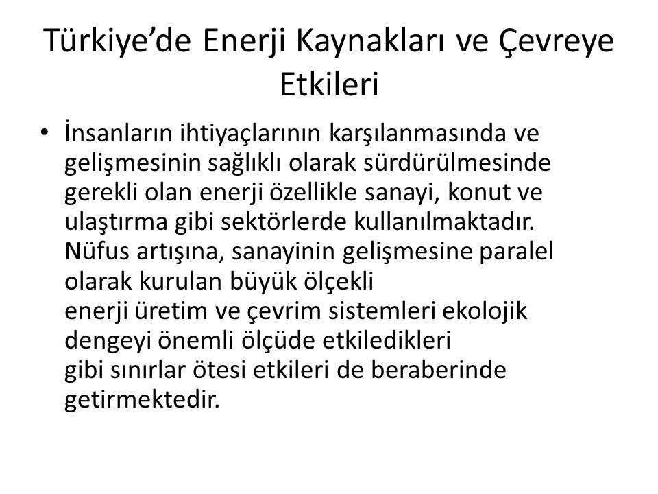 Türkiye'de Enerji Kaynakları ve Çevreye Etkileri