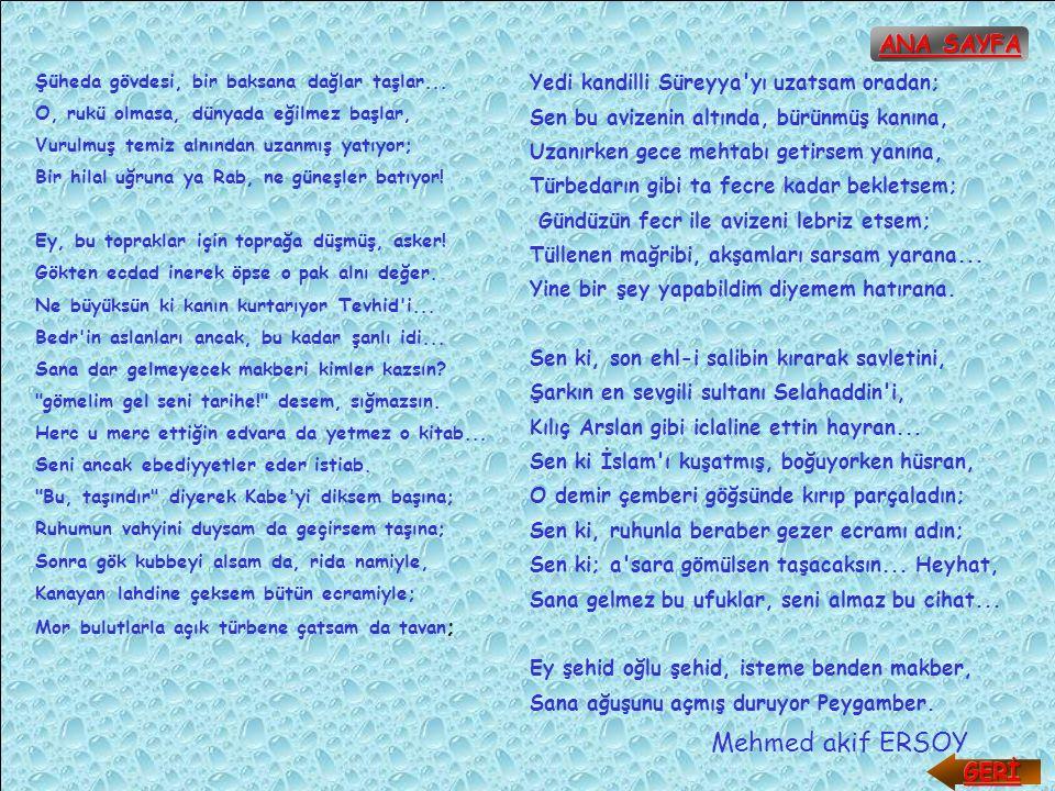 Mehmed akif ERSOY ANA SAYFA GERİ