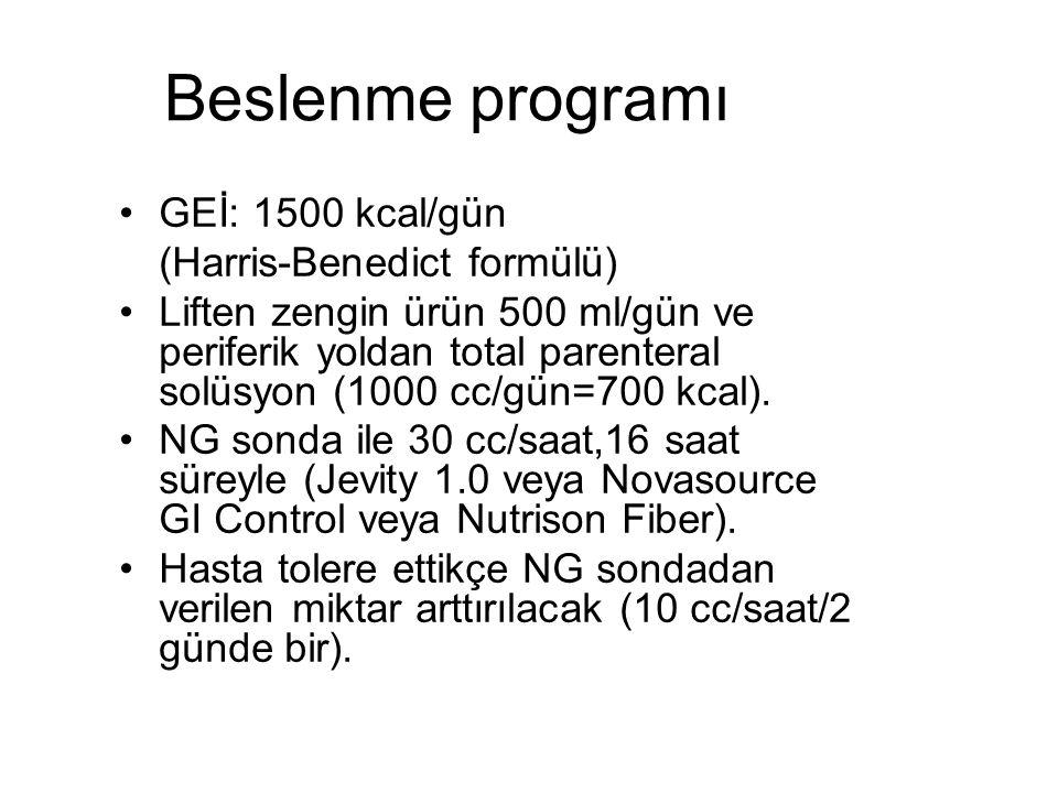 Beslenme programı GEİ: 1500 kcal/gün (Harris-Benedict formülü)