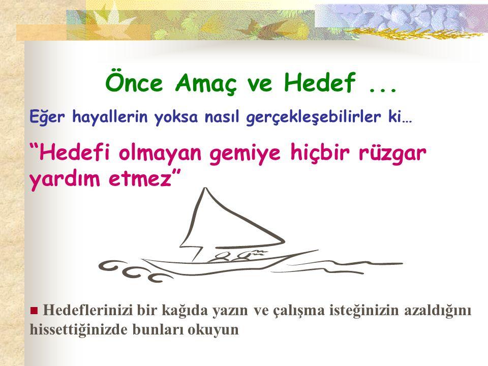Önce Amaç ve Hedef ... Eğer hayallerin yoksa nasıl gerçekleşebilirler ki… Hedefi olmayan gemiye hiçbir rüzgar yardım etmez