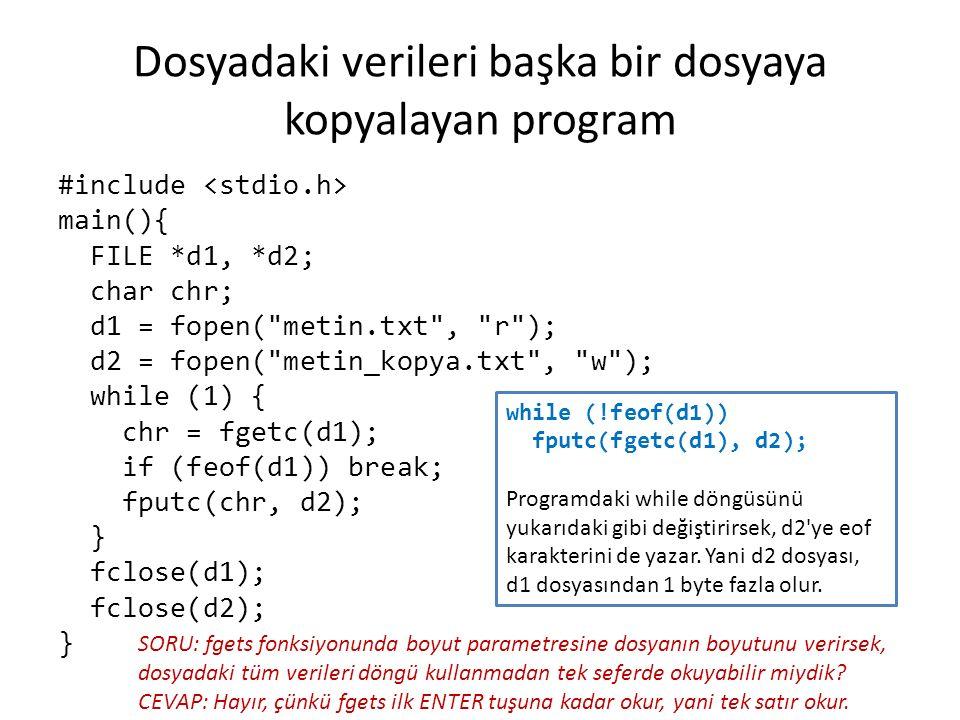 Dosyadaki verileri başka bir dosyaya kopyalayan program