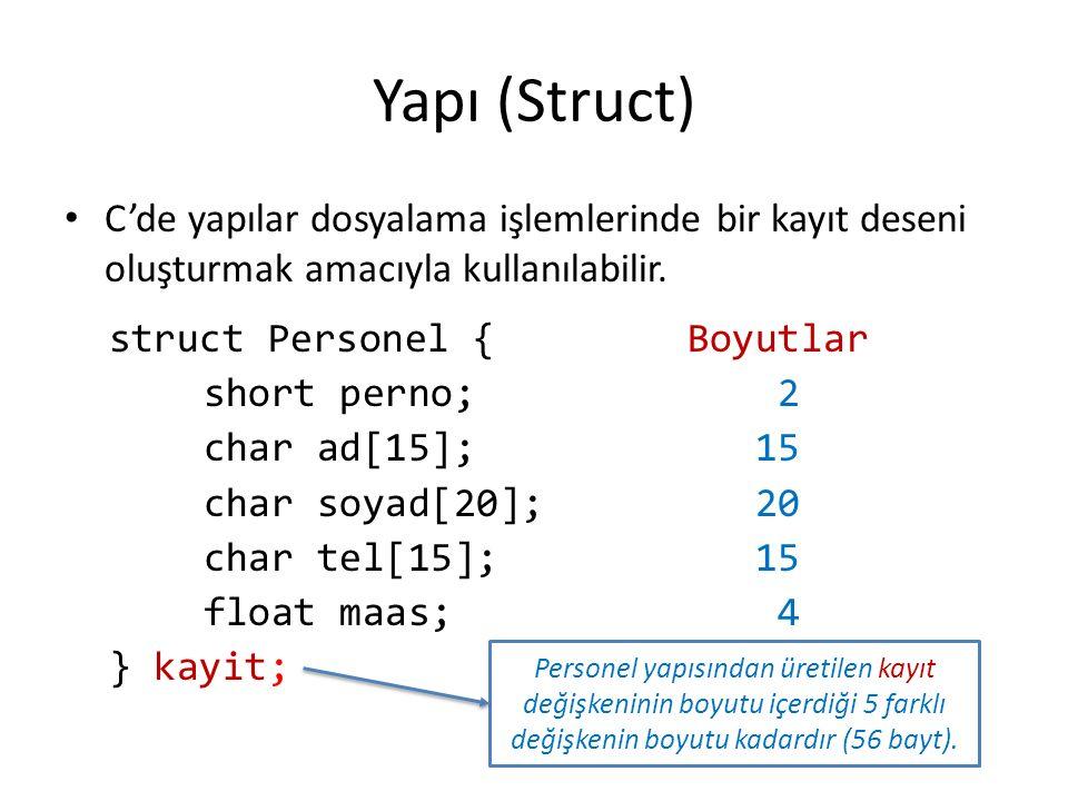 Yapı (Struct) C'de yapılar dosyalama işlemlerinde bir kayıt deseni oluşturmak amacıyla kullanılabilir.
