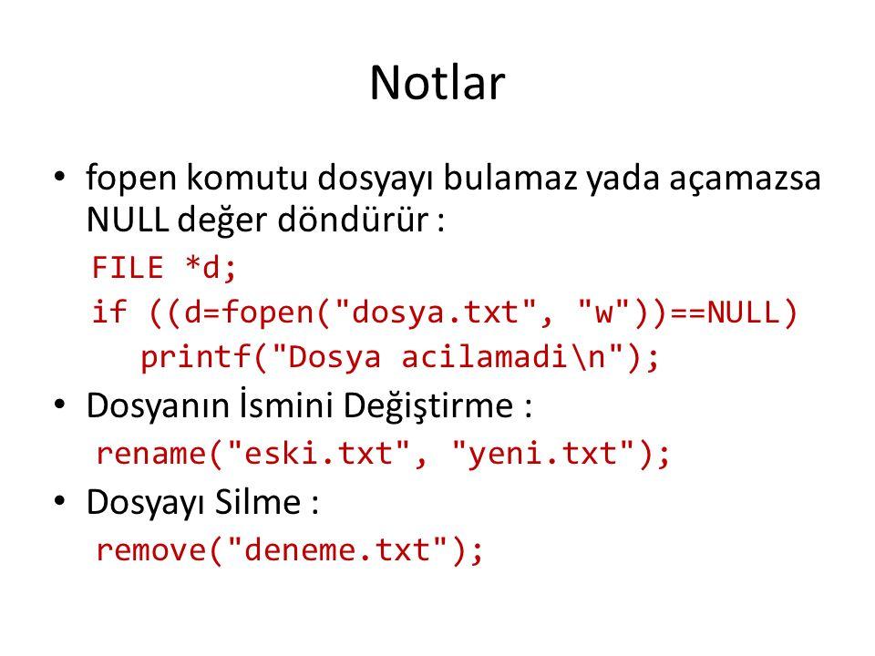 Notlar fopen komutu dosyayı bulamaz yada açamazsa NULL değer döndürür : FILE *d; if ((d=fopen( dosya.txt , w ))==NULL)