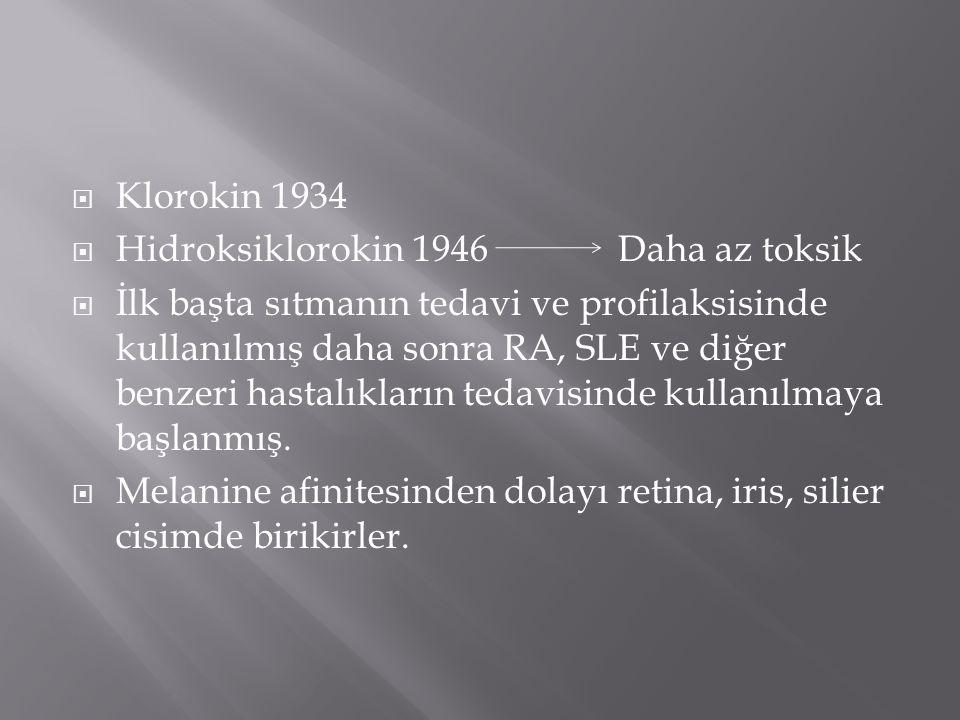 Klorokin 1934 Hidroksiklorokin 1946 Daha az toksik.
