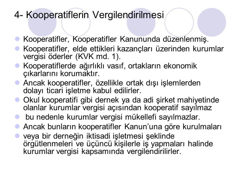 4- Kooperatiflerin Vergilendirilmesi