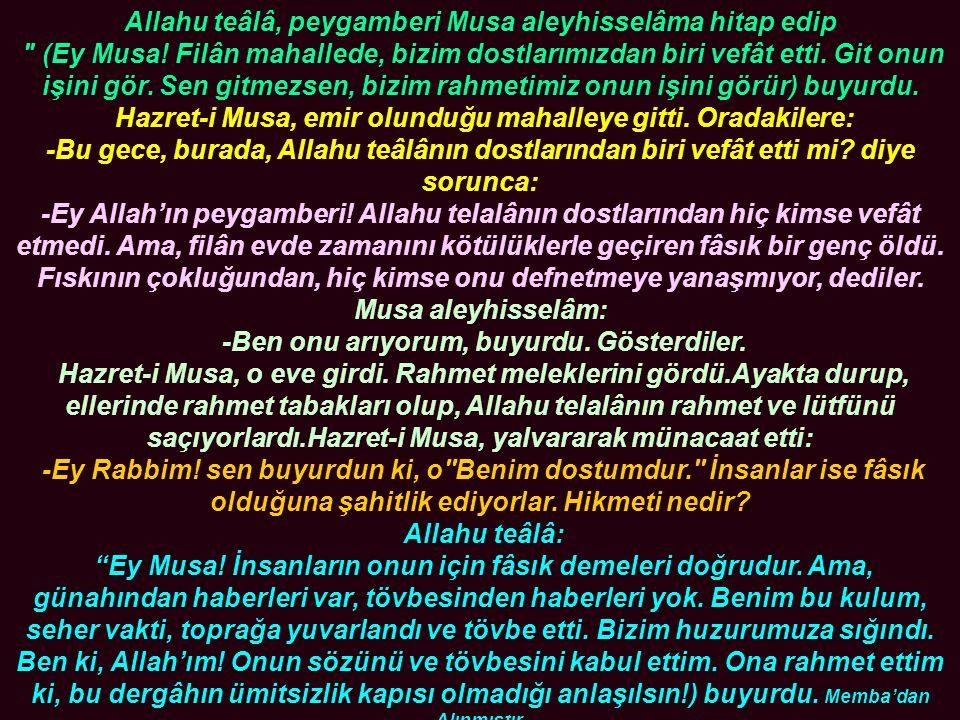 Allahu teâlâ, peygamberi Musa aleyhisselâma hitap edip