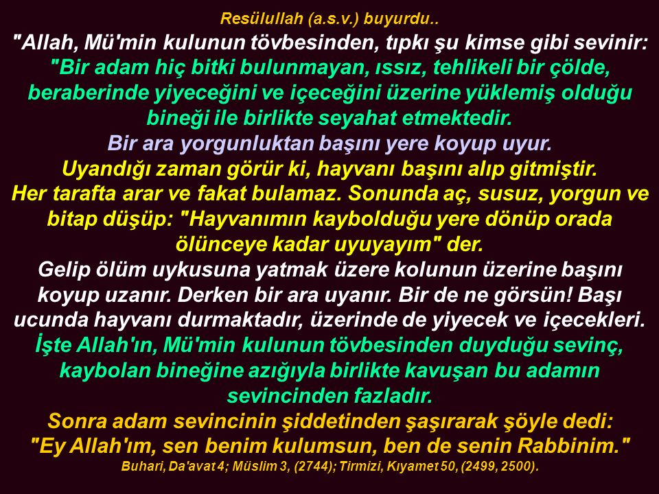 Resülullah (a. s. v. ) buyurdu