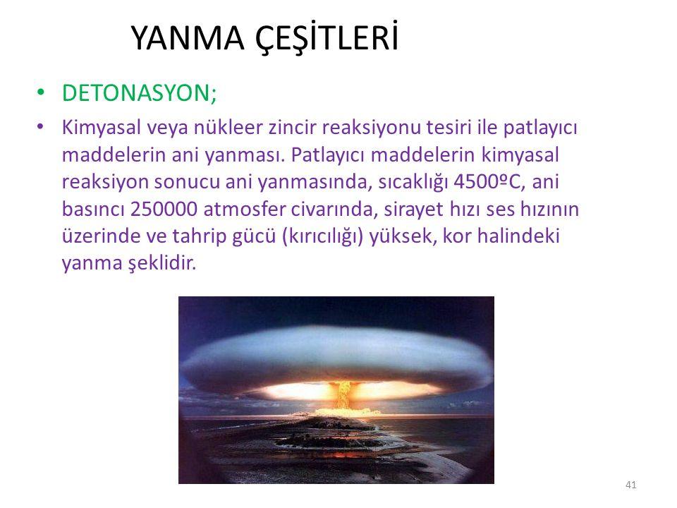 YANMA ÇEŞİTLERİ DETONASYON;