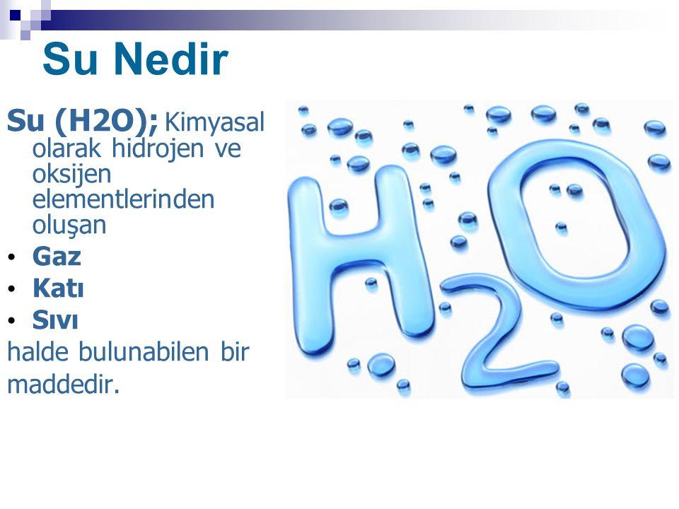 Su Nedir Su (H2O); Kimyasal olarak hidrojen ve oksijen elementlerinden oluşan. Gaz. Katı. Sıvı.