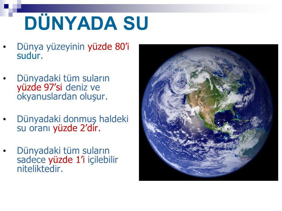 DÜNYADA SU Dünya yüzeyinin yüzde 80'i sudur.