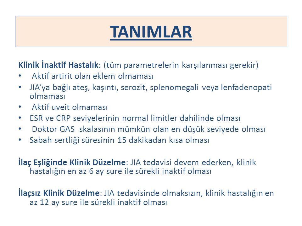 TANIMLAR Klinik İnaktif Hastalık: (tüm parametrelerin karşılanması gerekir) Aktif artirit olan eklem olmaması.