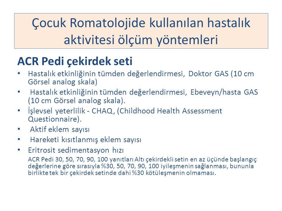 Çocuk Romatolojide kullanılan hastalık aktivitesi ölçüm yöntemleri