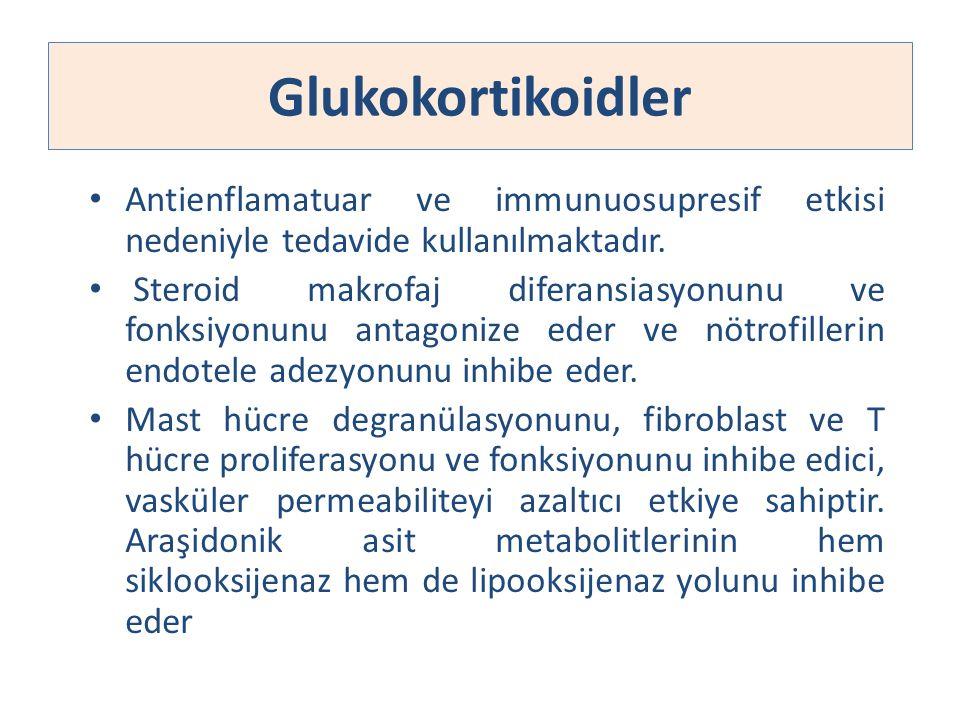 Glukokortikoidler Antienflamatuar ve immunuosupresif etkisi nedeniyle tedavide kullanılmaktadır.