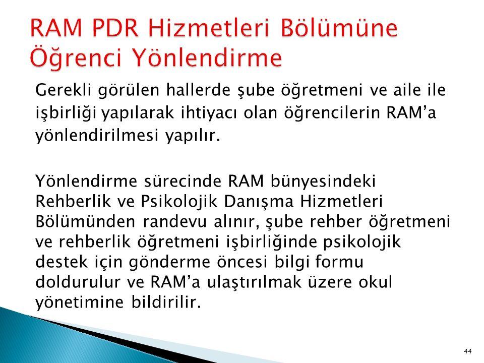 RAM PDR Hizmetleri Bölümüne Öğrenci Yönlendirme