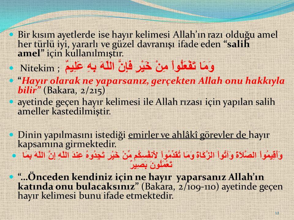 Bir kısım ayetlerde ise hayır kelimesi Allah'ın razı olduğu amel her türlü iyi, yararlı ve güzel davranışı ifade eden salih amel için kullanılmıştır.