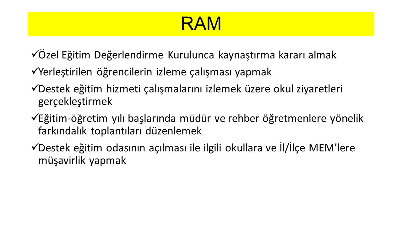 RAM Özel Eğitim Değerlendirme Kurulunca kaynaştırma kararı almak