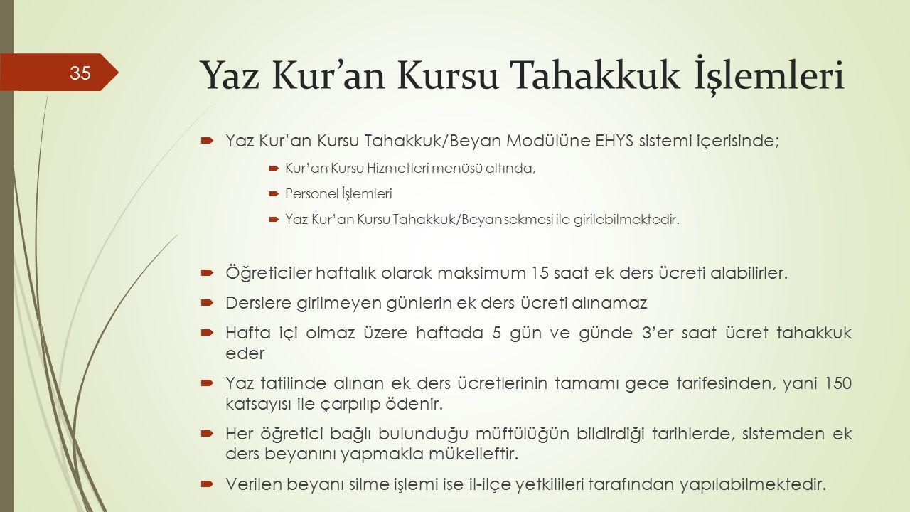 Yaz Kur'an Kursu Tahakkuk İşlemleri