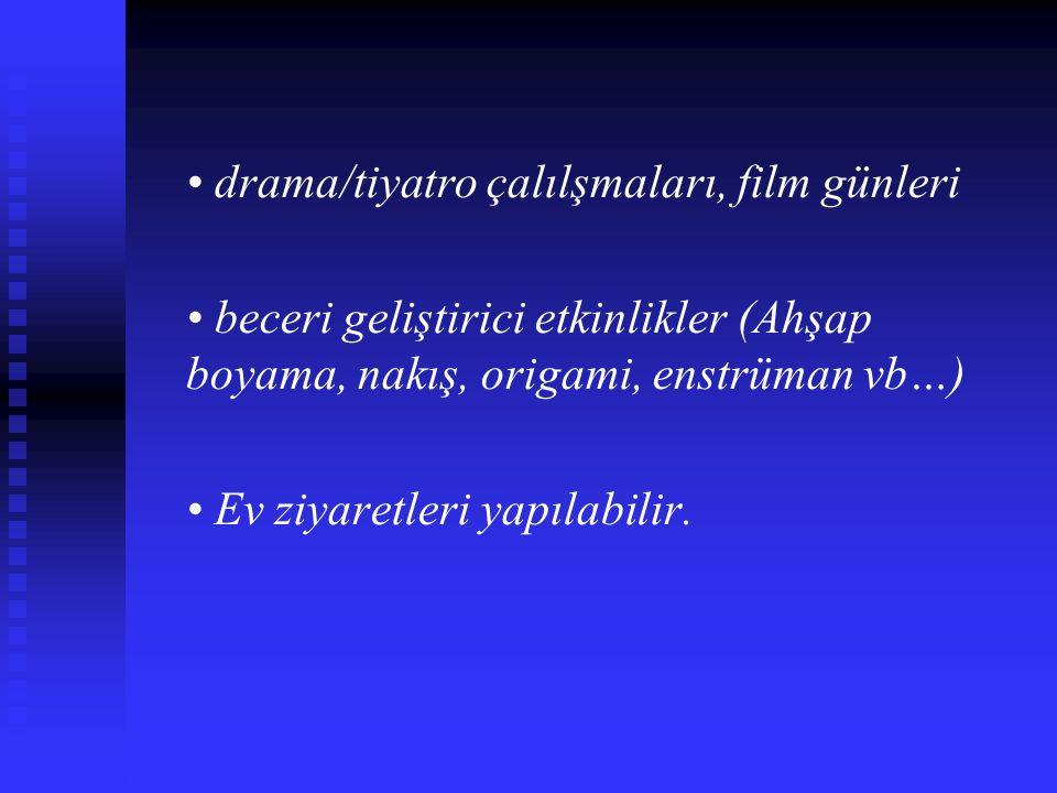 • drama/tiyatro çalılşmaları, film günleri