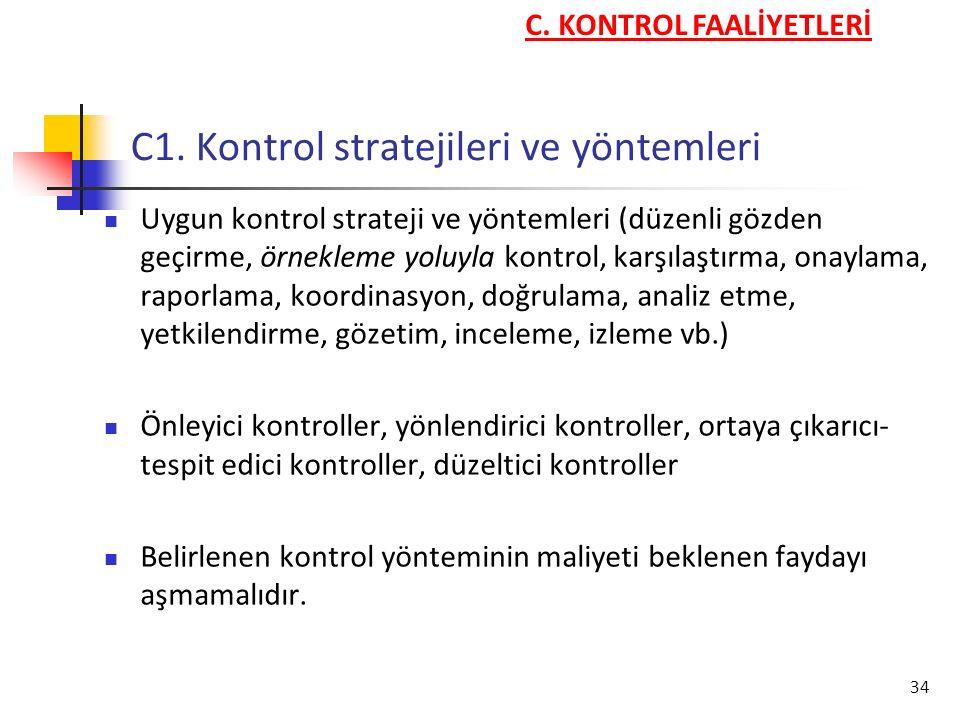 C1. Kontrol stratejileri ve yöntemleri