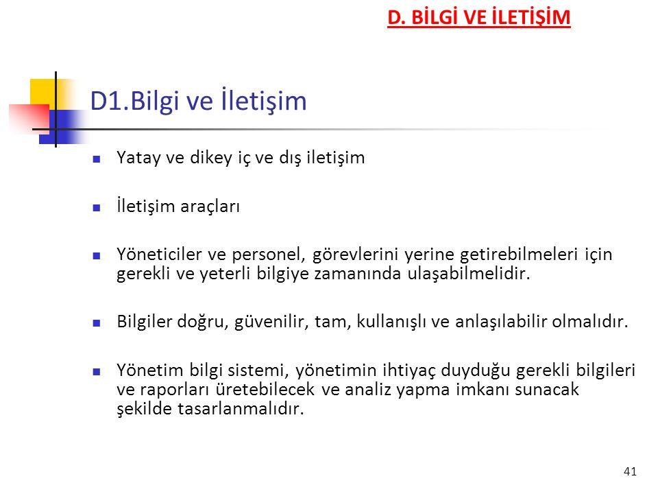 D1.Bilgi ve İletişim D. BİLGİ VE İLETİŞİM