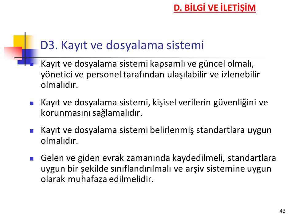D3. Kayıt ve dosyalama sistemi