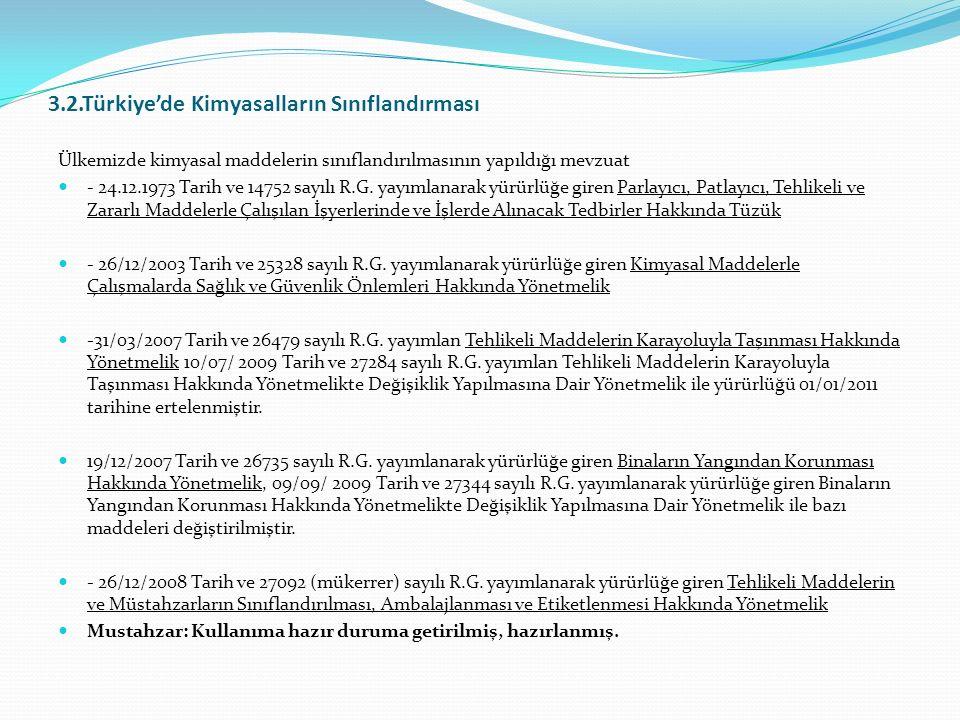 3.2.Türkiye'de Kimyasalların Sınıflandırması
