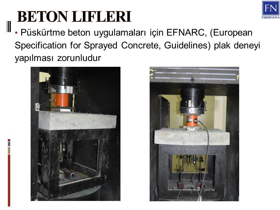 Beton Lifleri Püskürtme beton uygulamaları için EFNARC, (European Specification for Sprayed Concrete, Guidelines) plak deneyi yapılması zorunludur.
