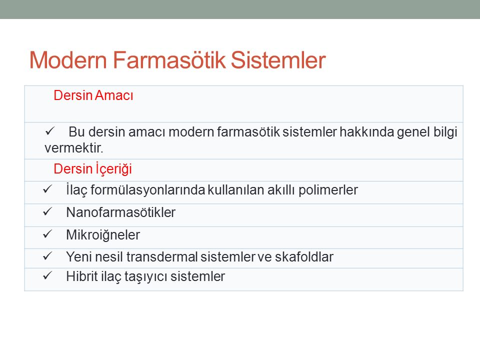 Modern Farmasötik Sistemler