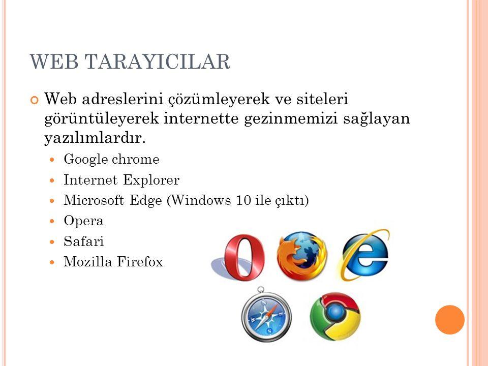 WEB TARAYICILAR Web adreslerini çözümleyerek ve siteleri görüntüleyerek internette gezinmemizi sağlayan yazılımlardır.