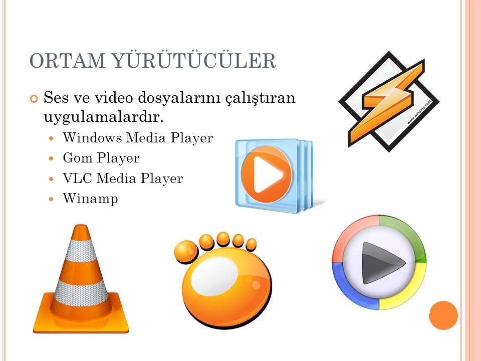 ORTAM YÜRÜTÜCÜLER Ses ve video dosyalarını çalıştıran uygulamalardır.