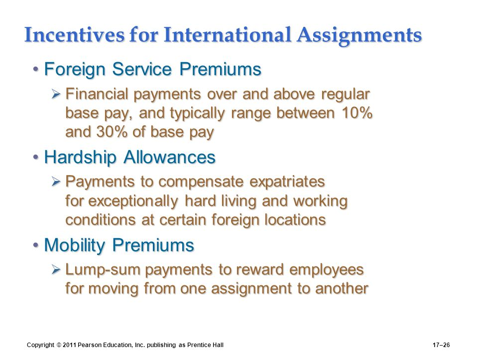 Incentives for International Assignments