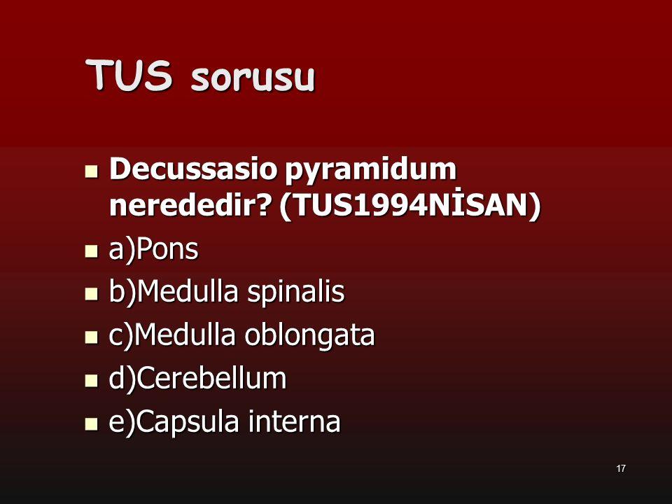 TUS sorusu Decussasio pyramidum nerededir (TUS1994NİSAN) a)Pons