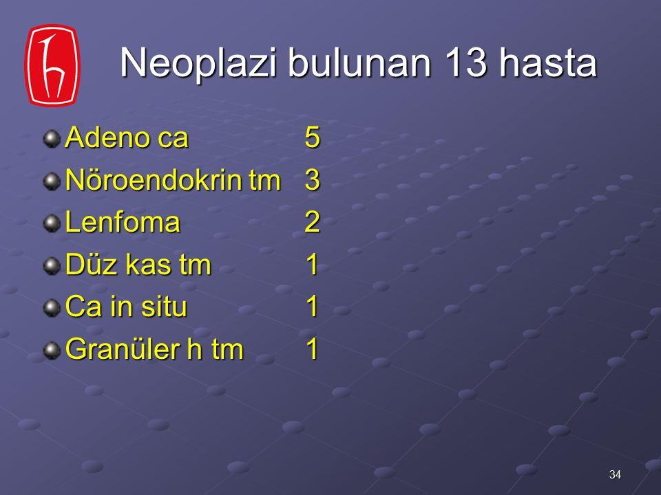 Neoplazi bulunan 13 hasta