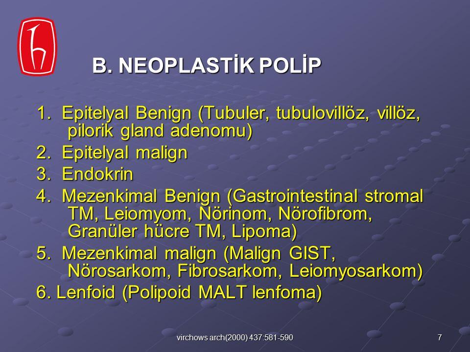 B. NEOPLASTİK POLİP 1. Epitelyal Benign (Tubuler, tubulovillöz, villöz, pilorik gland adenomu) 2. Epitelyal malign.