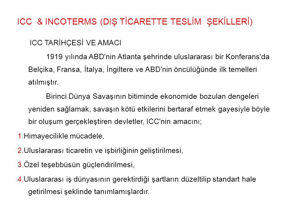 ICC & INCOTERMS (DIŞ TİCARETTE TESLİM ŞEKİLLERİ)