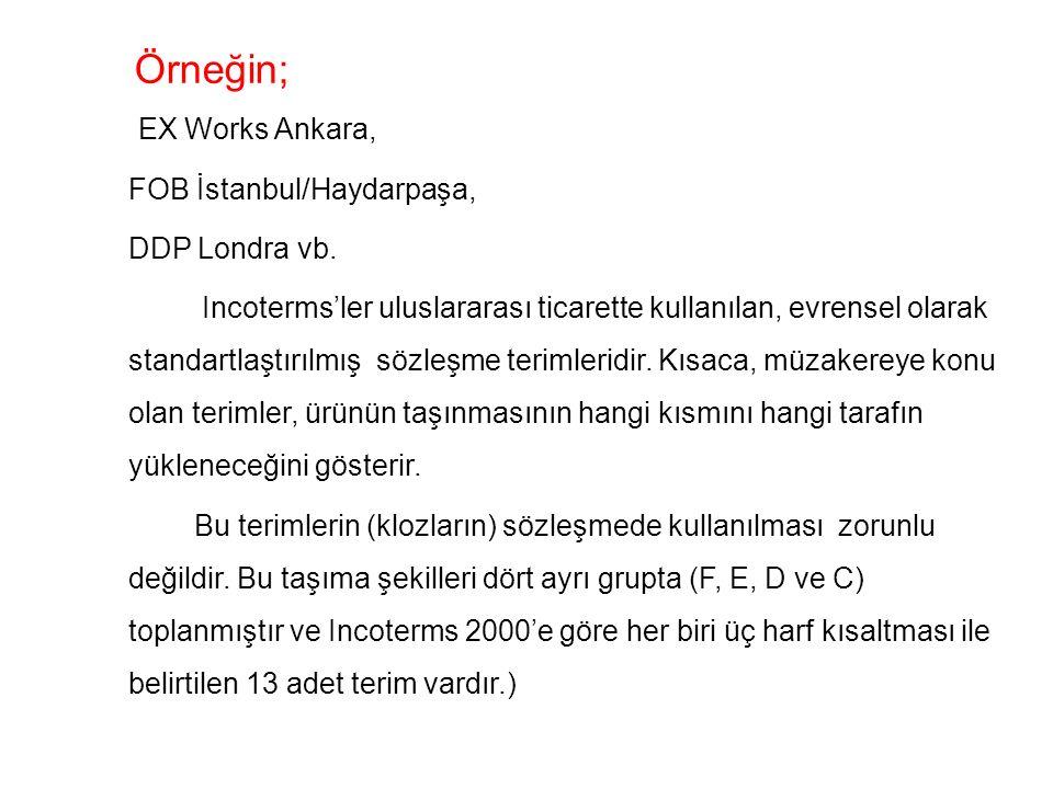 Örneğin; EX Works Ankara, FOB İstanbul/Haydarpaşa, DDP Londra vb.