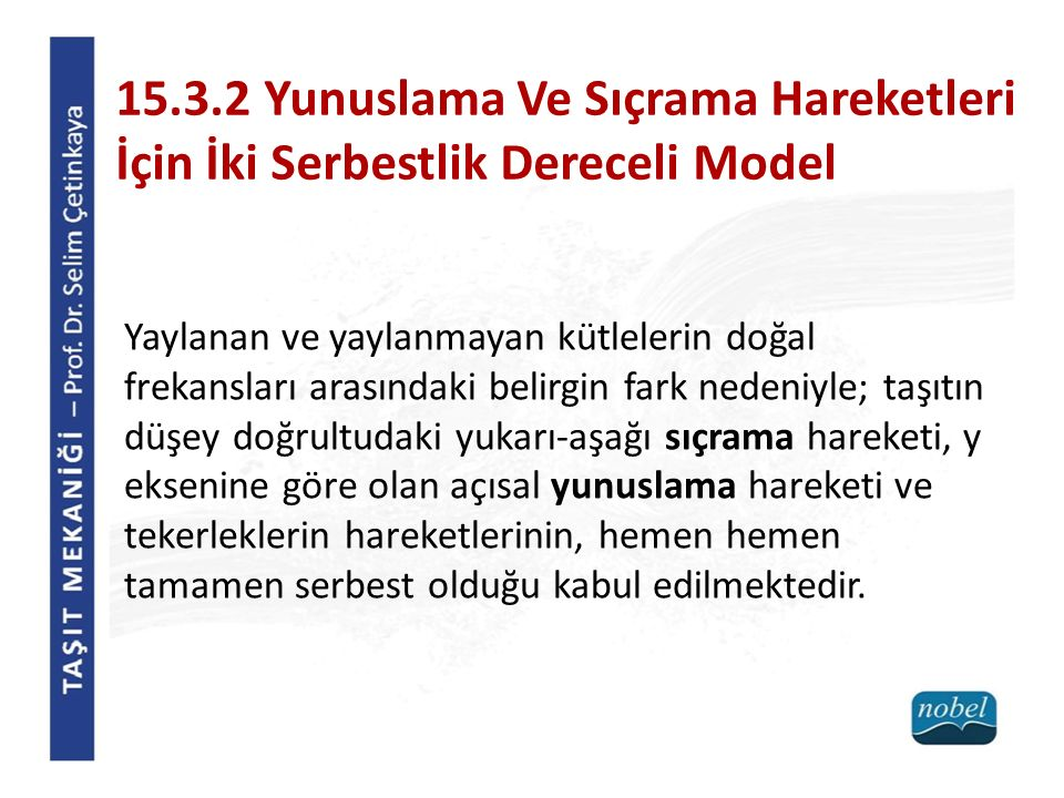 15.3.2 Yunuslama Ve Sıçrama Hareketleri İçin İki Serbestlik Dereceli Model