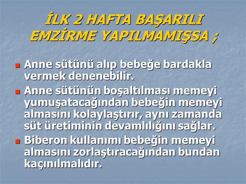 İLK 2 HAFTA BAŞARILI EMZİRME YAPILMAMIŞSA ;
