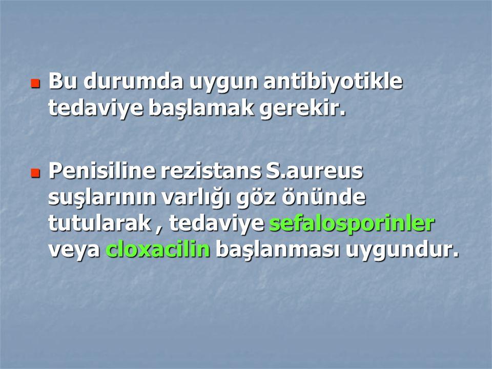Bu durumda uygun antibiyotikle tedaviye başlamak gerekir.