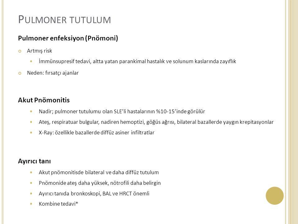 Pulmoner tutulum Pulmoner enfeksiyon (Pnömoni) Akut Pnömonitis