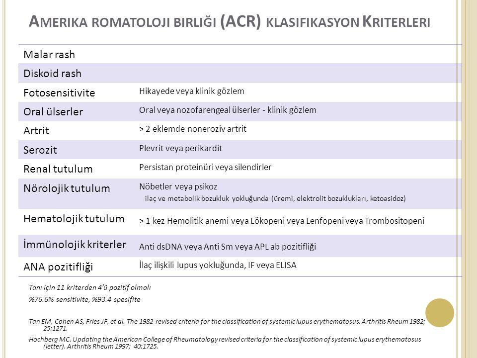 Amerika romatoloji birliği (ACR) klasifikasyon Kriterleri