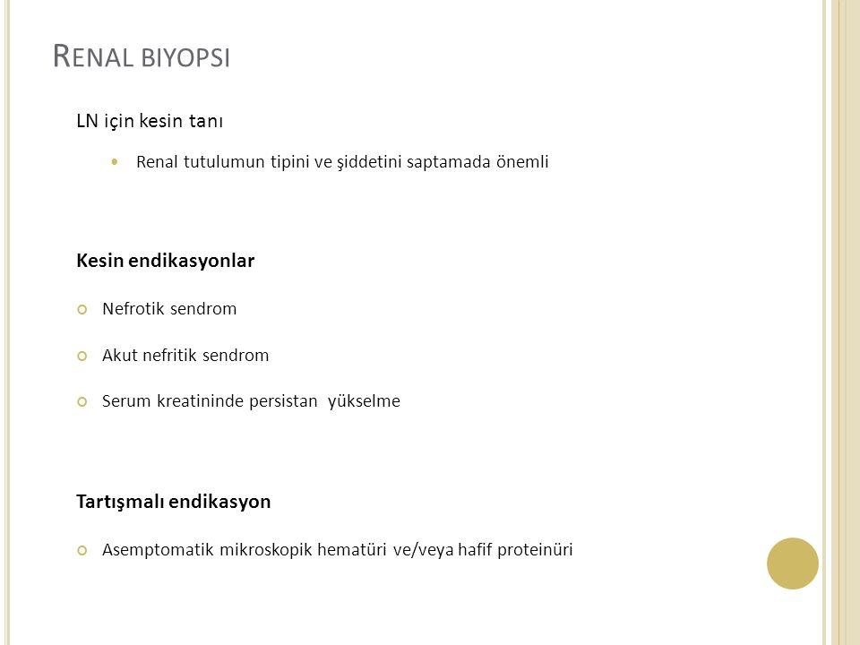 Renal biyopsi LN için kesin tanı Kesin endikasyonlar